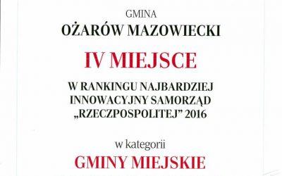 Ranking Samorządów Rzeczpospolitej 2016 Ożarów Mazowiecki