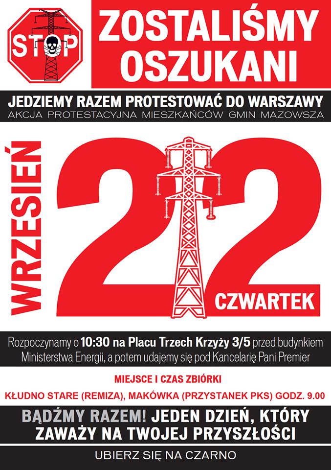 protest linia 400 kv Warszawa 22 września