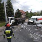 Poważny wypadek w Radziejowicach. Betoniarka zderzyła się z autem dostawczym