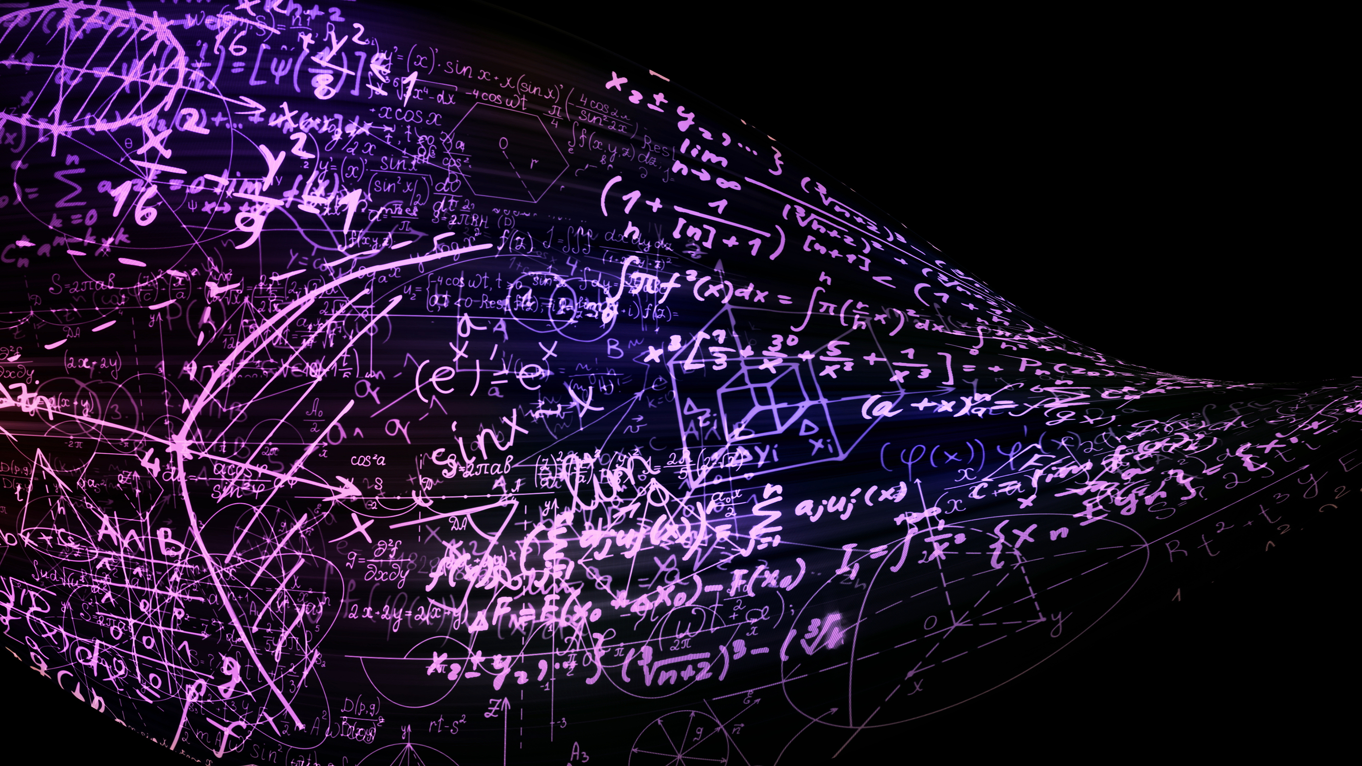 3D rendering abstract mathematical formulas in the virtual space. Mathematical formulas is bent in the form of a tape